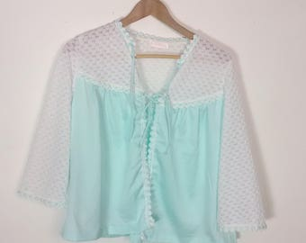 Vintage 60s Bed Jacket Seafoam Romantic Babydoll Top Delicate Embroidered Lace Trim