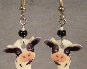 American Cow Dangle earrings - Holstein Cow jewelry - Cartoon Cow Jewellery