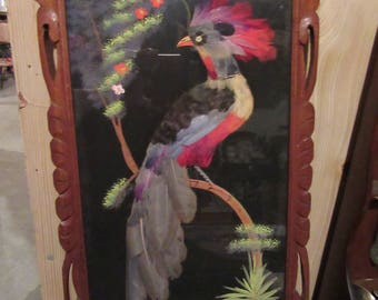 ON SALE!  Mexican Feather Art Set of 2 Handcarved Frames