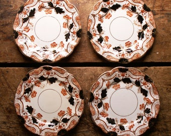 Vintage Set of Four Round Black and Rusty Orange Dessert Plates - Transferware with Hand Painted Embellisments