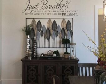 Just Breathe SS101 vinyl lettering home decor words stickers decal vinyl decor custom