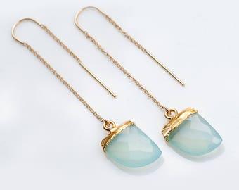 Gemstone Horn Threader Earrings - Aqua Blue Chalcedony - Gold Ear Thread Earrings - Ear Threader Earrings - Minimal - Long Gold Dangle