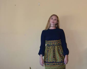 Sweet Swedish - Vintage Navy Blue Long Sleeved Dress with Colorful Above the Knee Skirt Womens Size 6