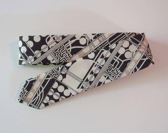 Art Deco Liberty of London Skinny Tie // 1920s Cotton & Silk Necktie