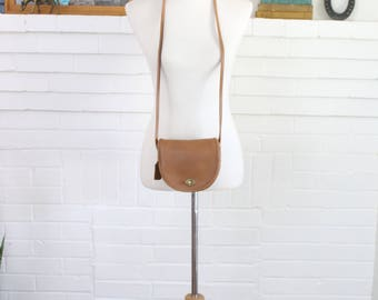Vintage Coach Bag // Leather Crossbody Bag NYC Tan // Mini Crescent Messenger Purse New York City