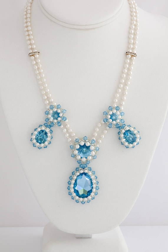 Something Blue Necklace Set, Aquamarine Bridal Crystal Necklace & Earring Wedding Set, Prom Necklace, Formal Necklace, Statement Jewelry