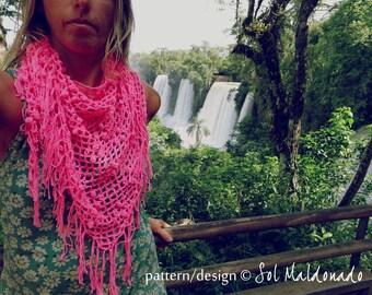 Shawl Crochet Pattern Triangle Scarf Iguazu PDF - cowl summer accessory - Instant DOWNLOAD