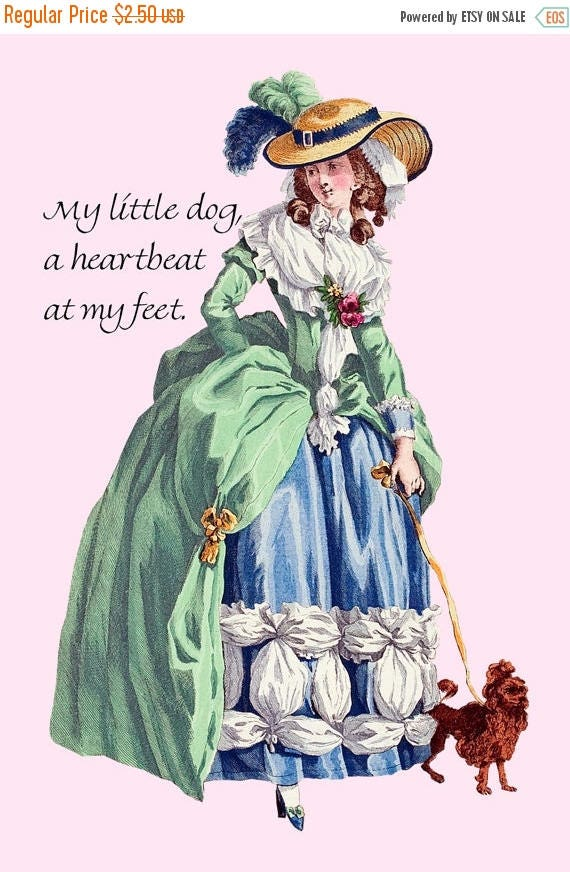 """My Little Dog, A Heartbeat At My Feet - Marie Antoinette 4"""" x 6"""" Postcards - Free Shipping in USA"""