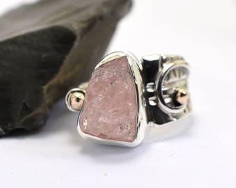 Rough morganite ring sterling silver natural raw morganite stone free form statement ring size 8 morganite jewelry pink asymmetrical ring