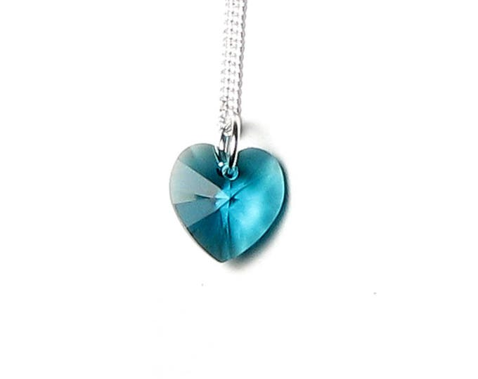 Swarovski Crystal Blue Zircon Heart Silver Pendant Necklace Romantic Green Blue Turquoise Teal Heart Design Jewelry Lovely Gifts for Women