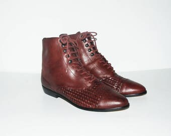 Size US 7.5 / Plum Braided Granny Boots, Ankle Booties, Vintage Lace Ups