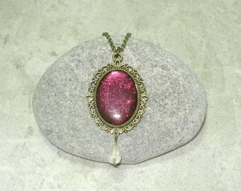 Metallic Magenta Cameo Necklace Handpainted Pendant Antique Bronze