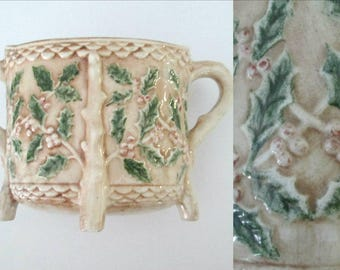 Holly and Ivy Bowl Vintage Holland Mold // Vintage Christmas // Sugar Bowl Floral Centerpiece Home Decor