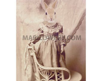 Rabbit in Dress Art, 5x7 Print, Anthropomorphic Animal in Clothes, Mixed Media Collage Small Wall Art Print, Nursery Decor