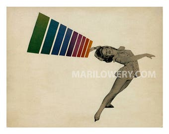 Retro Paper Collage, Art Print, 11 x 8.5 Inches, Whimsical Decor, Rainbow Art, Ice Skating