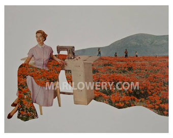 Spring Art Surreal Art Paper Collage Print Woman Sewing Field of Poppies Seamstress Gift 8.5 x 11 inch Print, frighten