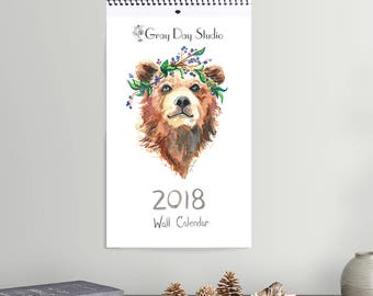 Animals in Crowns 2018 Wall Calendar, prints of original watercolor paintings, animal portraits by Abigail Gray Swartz