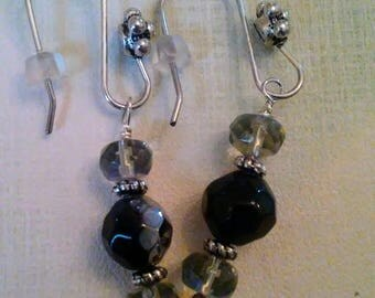 Clearance/ Destash Ayla's Bead Creations black ab silver accented flower earrings