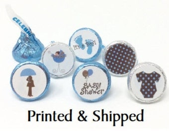 Printed 324 Baby Shower Stickers for Candy Kiss® - Blue Boy Baby Carriage and Baby Feet labels - Blue and Brown Shower Party Favors