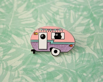 Camper Enamel Pin - Glitter Variant - Retro Pin - Vintage Camper - Caravan - Lapel Pin - Hard Enamel Pin - Pastel Pin - Camping