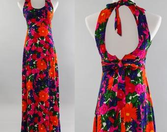 Hawaiian Vintage Dress Bright Long Neon Floral Halter | Tropical Orange Pink Purple Flower Print 1960s Hawaiian Dress  | Size Small