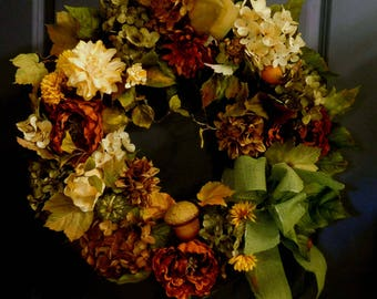 Fall/Autumn Wreath - Wreath For The Door - Summer  Wreath - Wreath - Hydrangea Wreath -  Front Door Wreath - Year Round Wreath