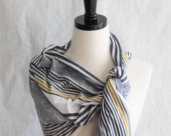 Yellow and Gray Striped Scarf - Yellow and Gray Wrap - Jersey Scarf