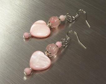 Dangling pink shell heart earrings