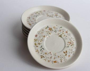 Vintage Lenox Temper-Ware Small Plates Dishes - Merriment Flower Floral Pattern Beige Yellow Blue Green Orange