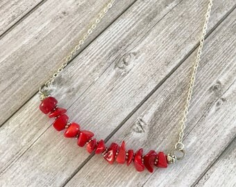 Red Coral Necklace - Gemstone Necklace - clothing gift - Birthday Gift Everyday Necklace - Coral red Jewelry - tiny choker necklace