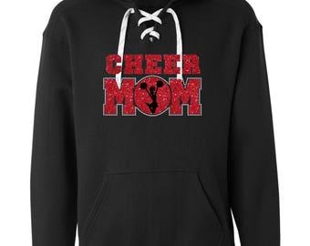 Glitter and rhinestone Cheer Mom  lace hoodie