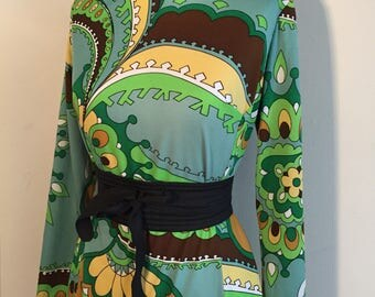 Vintage 60s 70s Paychedelic Green Dress Pucci inspired