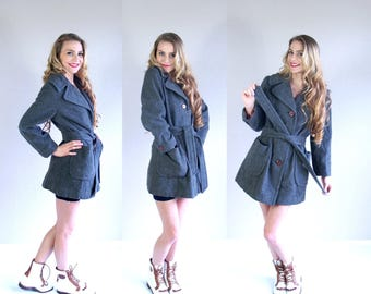 vtg 70s GRAY WOOL Belted COAT Large oversized collar peacoat fitted outerwear boho indie retro hippie mod