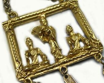 Statement Big Large Retro Antique Gold Vintage Oriental Pendant, vintage oriental necklace, vintage Asian pendant necklace, gold oriental