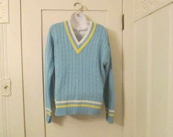 Vintage Tennis Sweater 70s Large Blue Rod Laver Puritan Cable Knit Tri Color
