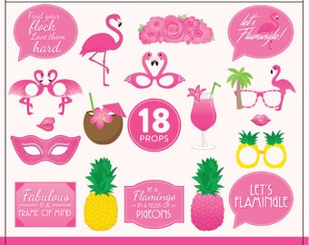 Printable Flamingo Party Props | 18 Hot Pink Flamingo Props | DIY Props | Instant Download | Flamingle Party