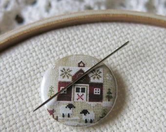 FREE gift w/pre-order Little Red Barn #1 Needle Nanny minder counted cross stitch Little House Needleworks Stitch Dots Farmhouse Christmas