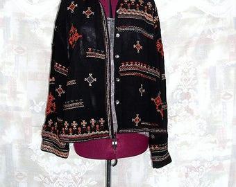 Plus size Black Bohemian Embroidered Chiffon Blouse #KheGreen