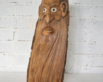 Large Folk Art Wood Spirit Hand-Carved