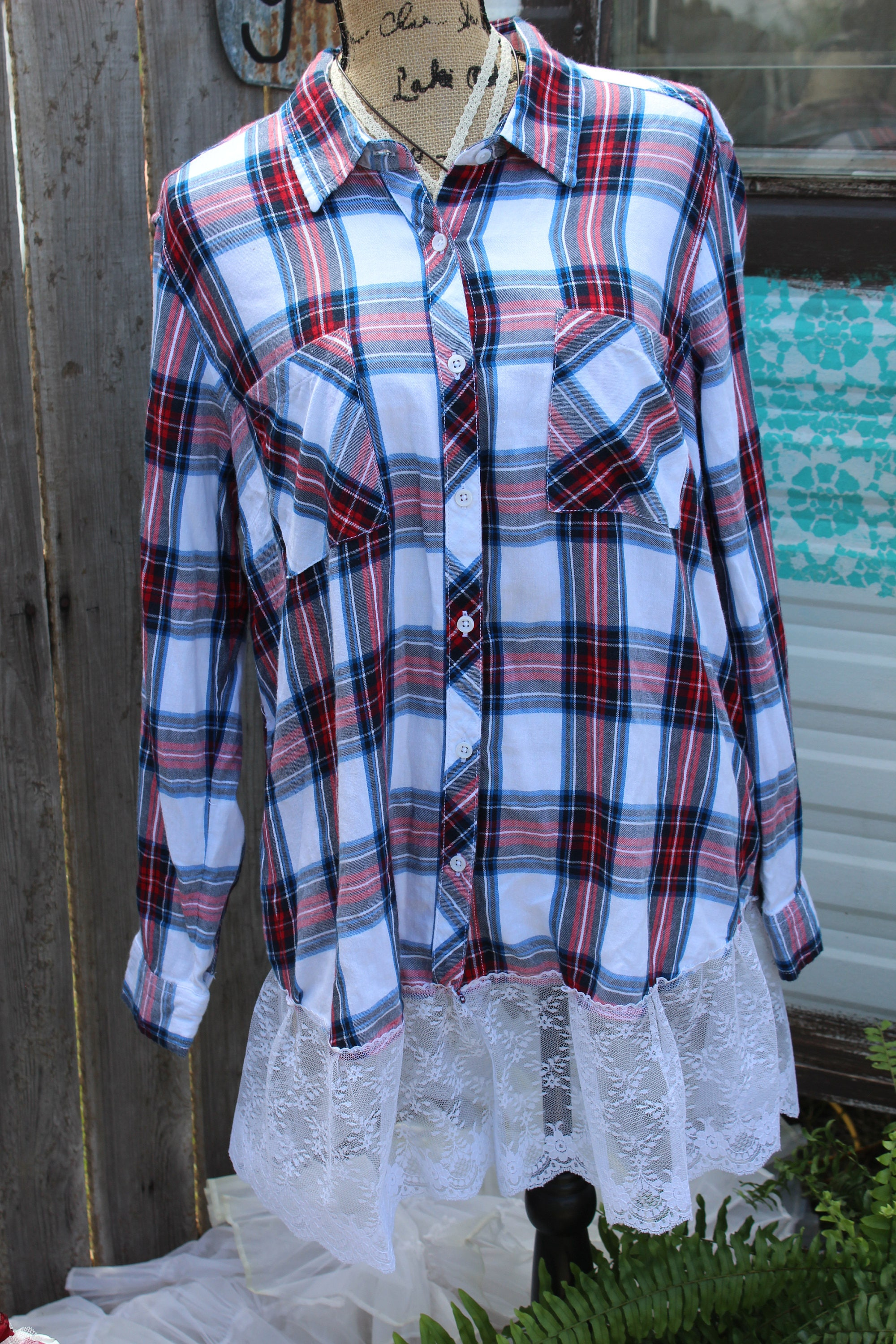 Red White And Blue Flannel Shirt With Lace Ruffle Extender
