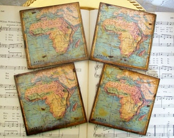 Map Coasters, Africa Historical Map Coasters, Old World Map, Africa, Gold Stained & Antiqued Map Set of 4, Decoupage Map Coasters