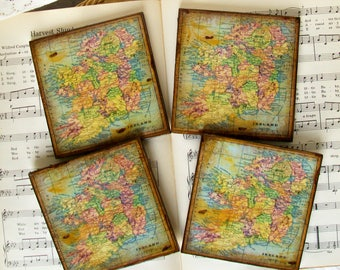 Ireland Coasters, Irish Coasters, Ireland Map Coasters, Old World Ireland, Espresso, Gold Stained, Antiqued Map, Set of 4, Wood Coasters