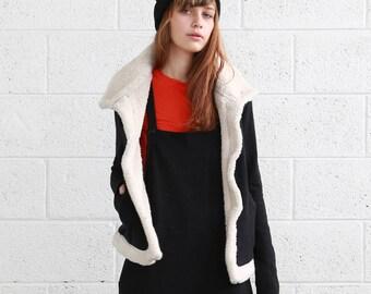 Women's Faux Fur Coat Jacket  Faux Fur Lining , French Terry Cardigan.