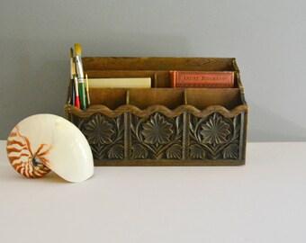 Vintage Faux Wood Desk Organizer - Desk Caddy Carved Office Supply Holder