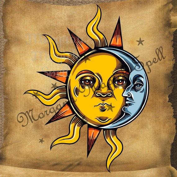 Occult Sun and Moon Royalty Free Clip Art