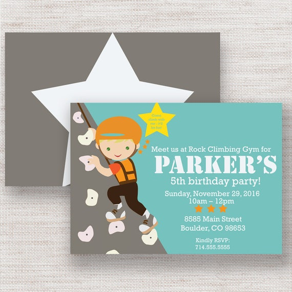 Rock Climbing Birthday Invitation Rock Wall Invite