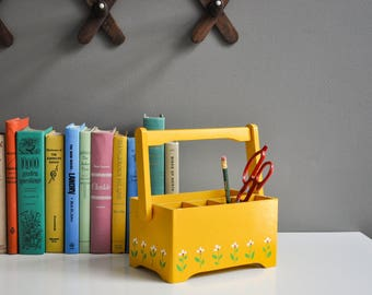 vintage wooden desk or silverware caddy yellow with flowers