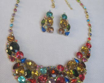 Spectacular in Cheery Multi Colored Crystals Bib Necklace Set