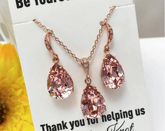 Blush Bridal Earrings Rose Gold Bride Necklace Swarovski Crystal Vintage Rose Teardrop Set Soft Pink Wedding Jewelry Pastel Bridesmaid Gift