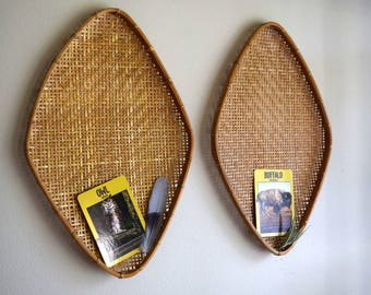 Two Vintage Hand Woven Oval Bamboo Wall Baskets -  Bohemiam, Farmhouse, Natural, Ecletic